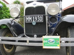 Paul Smith's 1930 Roadster displays the Rally number plate at the Taupo National Model A Rally Easter 2009.JPG